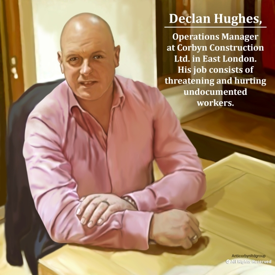 Drawing of Declan Hughes, Operation Manager, Corbyn Ltd. ordered Zeus (German Shepherd) to attack the employee.